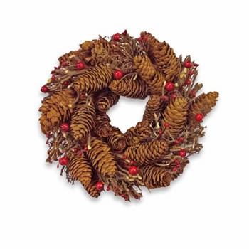 Image of Artificial Red Berry & Pine Cone Wreath