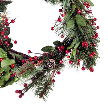 Extra image of Large Artificial Red Berry & Fir Tree Branch Christmas Wreath