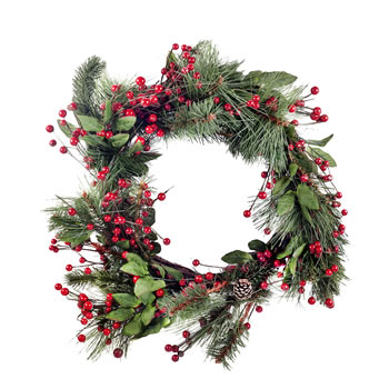 Image of Large Artificial Red Berry & Fir Tree Branch Christmas Wreath