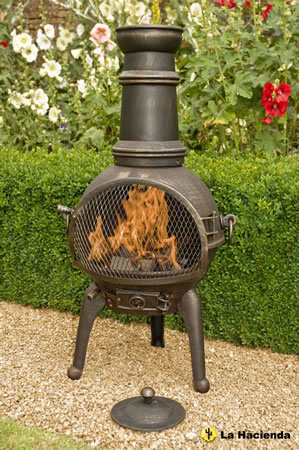 Image of Bronze 95cm Lisbon Cast Iron/steel Chiminea Chimenea Patio Heater