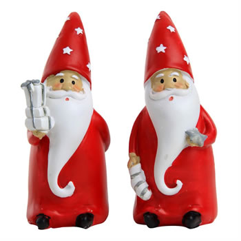 Image of Set of 2 12cm Polyresin Father Christmas Gnome Ornaments
