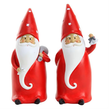 Image of Set of 2 20cm Polyresin Father Christmas Gnome Ornaments