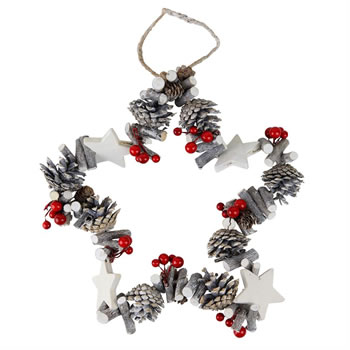 Image of Red Berry, White-washed Twig & Pine Cone 30cm Star Christmas Wreath