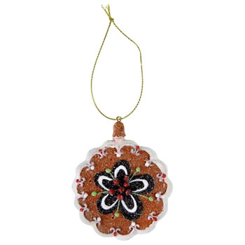 Image of Gingerbread Cookie Christmas Tree Decoration with Flower