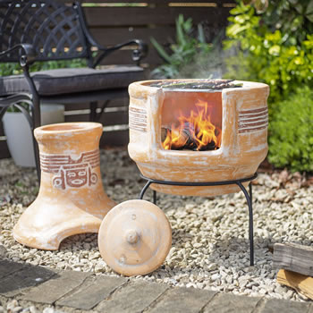 Image of Oxford Barbecues Inca Clay BBQ Chiminea Patio Heater + Grill