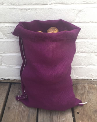 Image of Nutley's Purple Coloured Hessian Potato Sack Vegetable Storage Bag 30 x 45cm