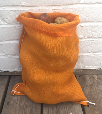 Image of Nutley's Orange Coloured Hessian Potato Sack 30 x 45cm