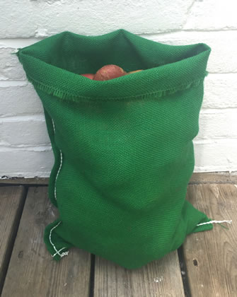 Image of 3 x Nutley's Green Coloured Hessian Potato Sack Vegetable Storage Bag 30 x 45cm