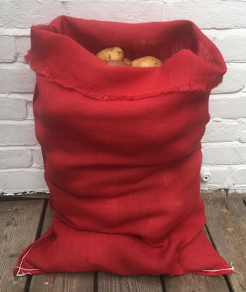 Image of Nutley's Red Coloured Hessian Potato Sack Vegetable Storage Bag 50 x 80cm jute