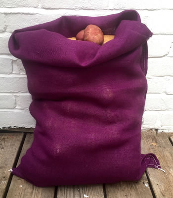 Image of 3 x Nutley's Purple Coloured Hessian Potato Sack Vegetable Storage Bag 50 x 80cm