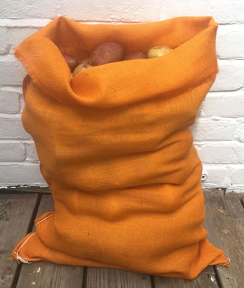 Image of Nutley's Orange Coloured Hessian Jute Potato Sack 50 x 80cm