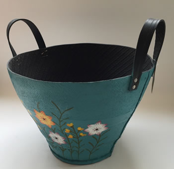 Image of Nutley's Large Round Blue Hand Painted Recycled Tyre Planter