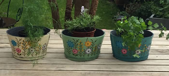 Image of Nutley's Triple Pack Small Round Recycled Garden Planters