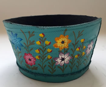 Image of Nutley's Small Blue Round Recycled Tyre Garden Planter
