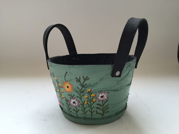 Image of Nutley's Small Round Green Recycled Tyre Planter with Handles Hand Painted