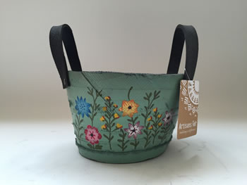 Extra image of Nutley's Small Round Green Hand Painted Recycled Tyre Planter