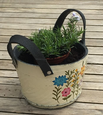 Image of Nutley's Small Round Cream Recycled Tyre Planter with Handles Hand Painted