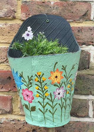 Extra image of Nutley's Green Round Recycled Tyre Wall Planter