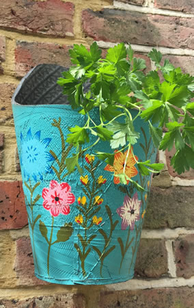 Image of Nutley's Blue Round Recycled Tyre Wall Planter