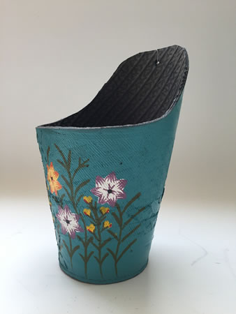 Extra image of Nutley's Blue Round Recycled Tyre Wall Planter