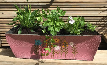 Image of Nutley's Pink Rectangular Recycled Tyre Planter Hand Painted Garden Grow Your Own