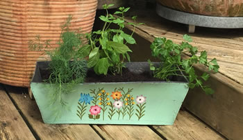 Image of Nutley's Green Rectangular Hand Painted Recycled Tyre Planter