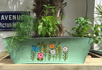 Extra image of Nutley's Double Pack Rectangular Recycled Tyre Planter Hand Painted