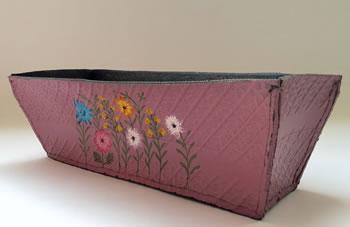 Extra image of Nutley's Pink Rectangular Hand Painted Recycled Tyre Planter