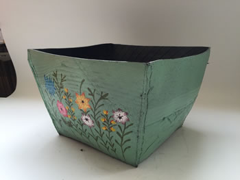 Image of Nutley's Large Square Hand Painted Recycled Tyre Planter Green