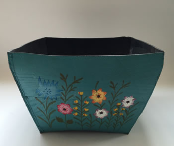 Image of Nutley's Large Square Hand Painted Recycled Tyre Planter Blue