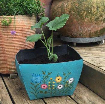 Extra image of Nutley's Large Square Hand Painted Recycled Tyre Planter Blue