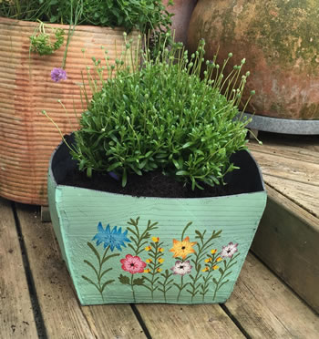 Extra image of Nutley's Large Square Hand Painted Recycled Tyre Planter Green
