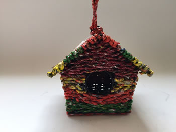 Image of Nutley's Square Woven Bird House Garden Multi-coloured