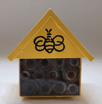 Image of Nutley's Yellow Miniature Insect House with Bee Decoration Garden Outdoors