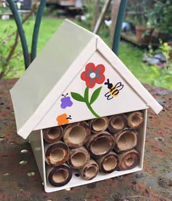 Extra image of Nutley's White Miniature Insect House with Flower Decoration