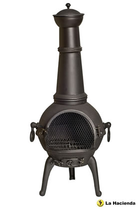 Extra image of La Hacienda Black Lisbon 125cm Cast Iron Chiminea Chimenea Patio