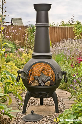 Image of La Hacienda Black Lisbon 125cm Cast Iron Chiminea Chimenea Patio