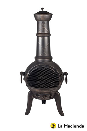 Image of 105cm Bronze Cast Iron/Steel Mix Chiminea Chimenea with Swing Out Grill BBQ