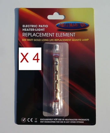 Image of Value 4 Set Of Heatmaster Gold Parasol Heater Bulbs