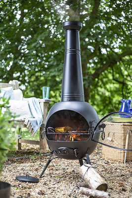 Image of La Hacienda Extra Large Steel 134cm Chiminea Patio Heater With Bbq Grill