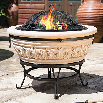 Image of La Hacienda Carved Scroll Magnesia Medium Firepit