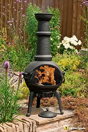 Image of Black 112cm High 100% Cast Iron Chiminea With Bbq Grill