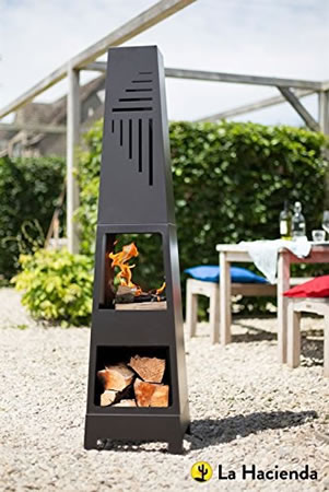 Image of La Hacienda Vela Black Steel Garden Chiminea With Laser Cut Design 150cm High