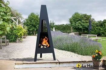 Image of La Hacienda Delta 146cm Contemporary Steel Chiminea Patio Heater