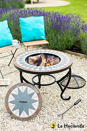 Image of La Hacienda Tiled Firepit Table with Grill & Centre Lid