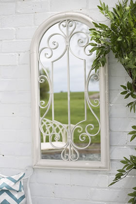 Image of La Hacienda Scrolled Arch Antique White Outdoor Garden Mirror