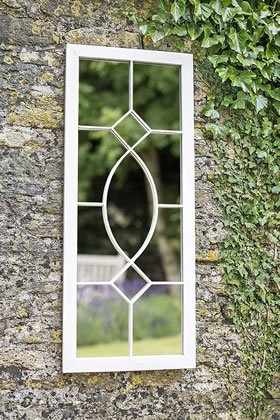 Image of La Hacienda Tall Rectangular Cream Metal Outdoor Garden Mirror Feature