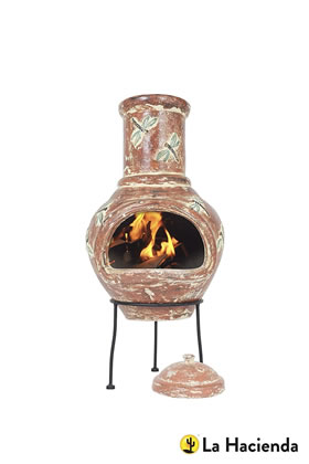 Extra image of La Hacienda Alegria Large Dragon Fly Clay Chiminea Patio Heater