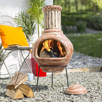 Image of La Hacienda Calido Large Clay Chiminea Patio Heater