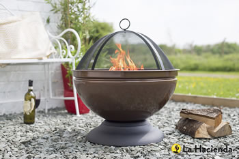 Image of Enamelled Firepit With Grill Patio Heater Bronze